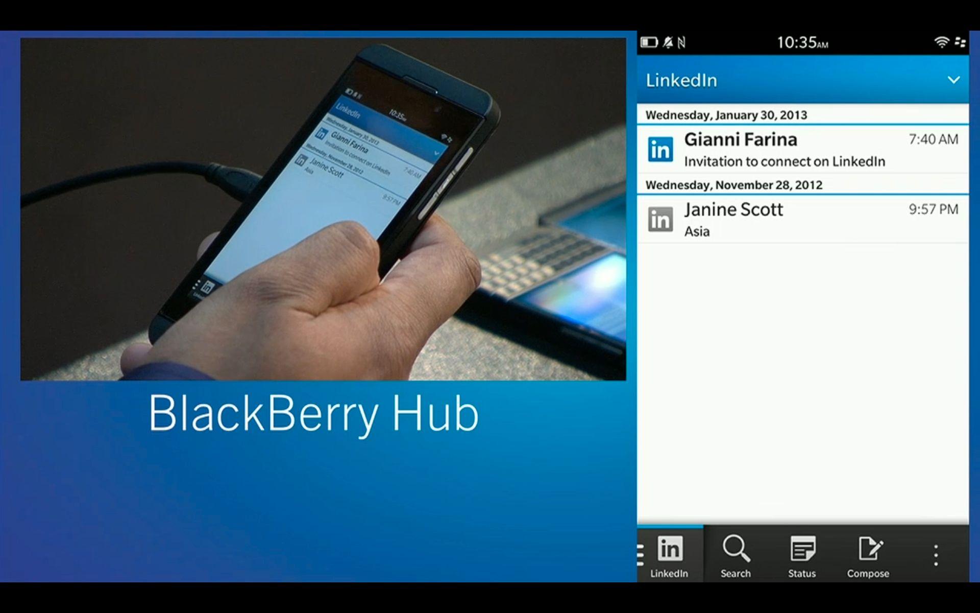 Skjermbilde fra BlackBerry Hub.