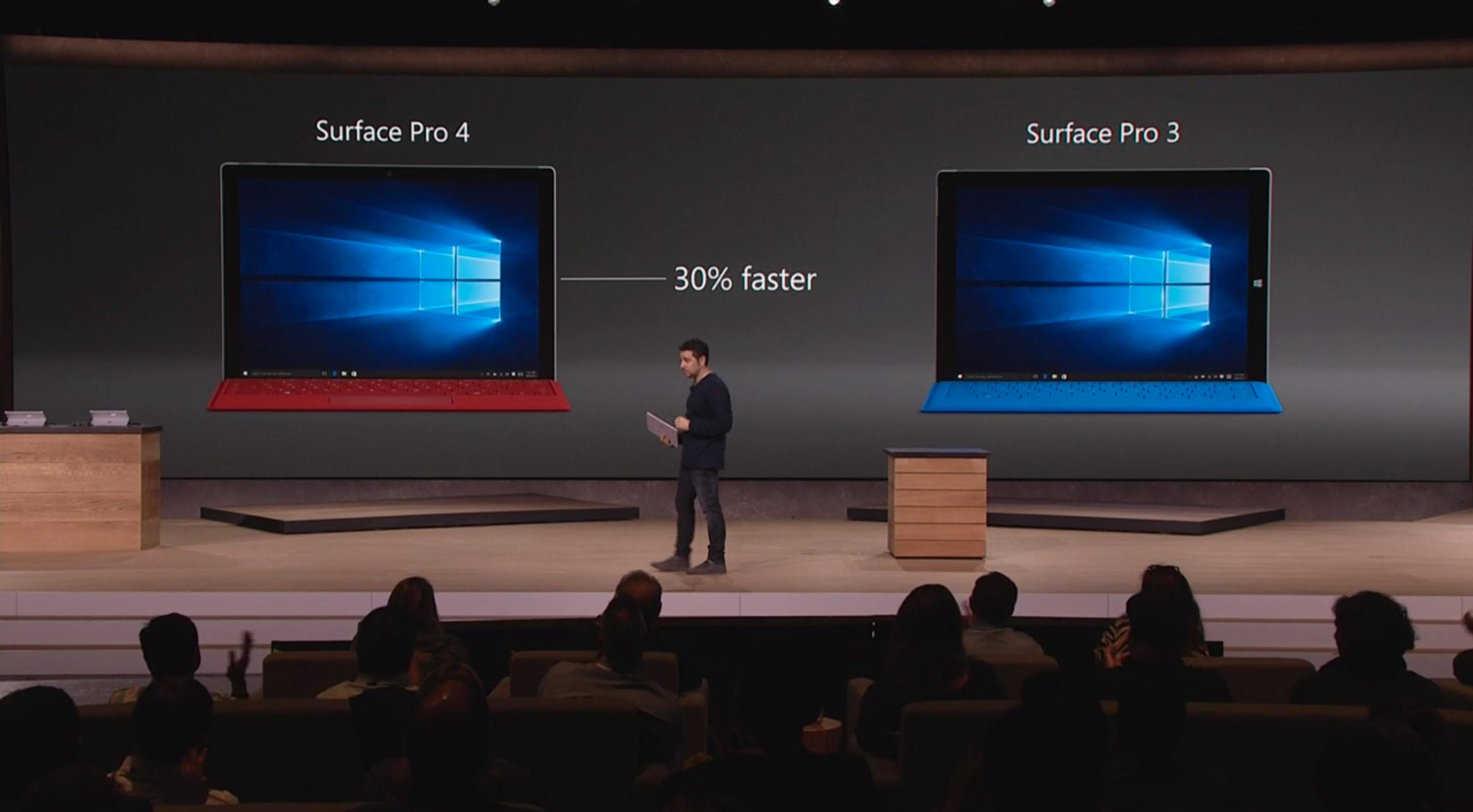 Slik ser Surface Pro 3 (til høyre) ut ved siden av Surface Pro 4. Foto: Microsoft, skjermdump fra video