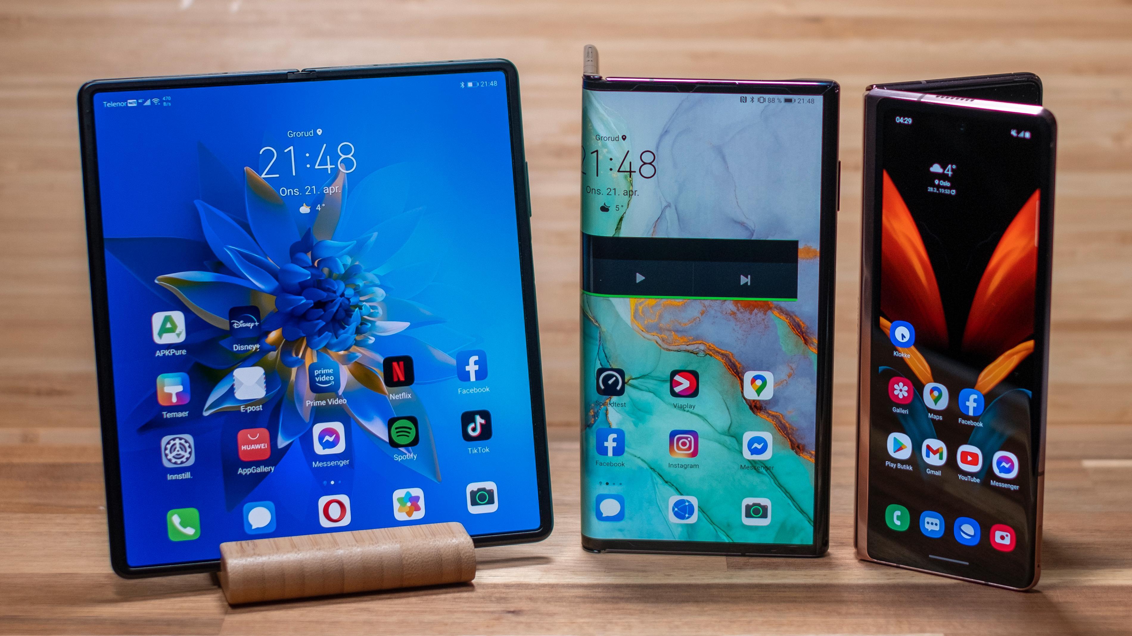 Fra venstre; Hawei Mate X2, Mate Xs og Samsung Galaxy S Fold 2.