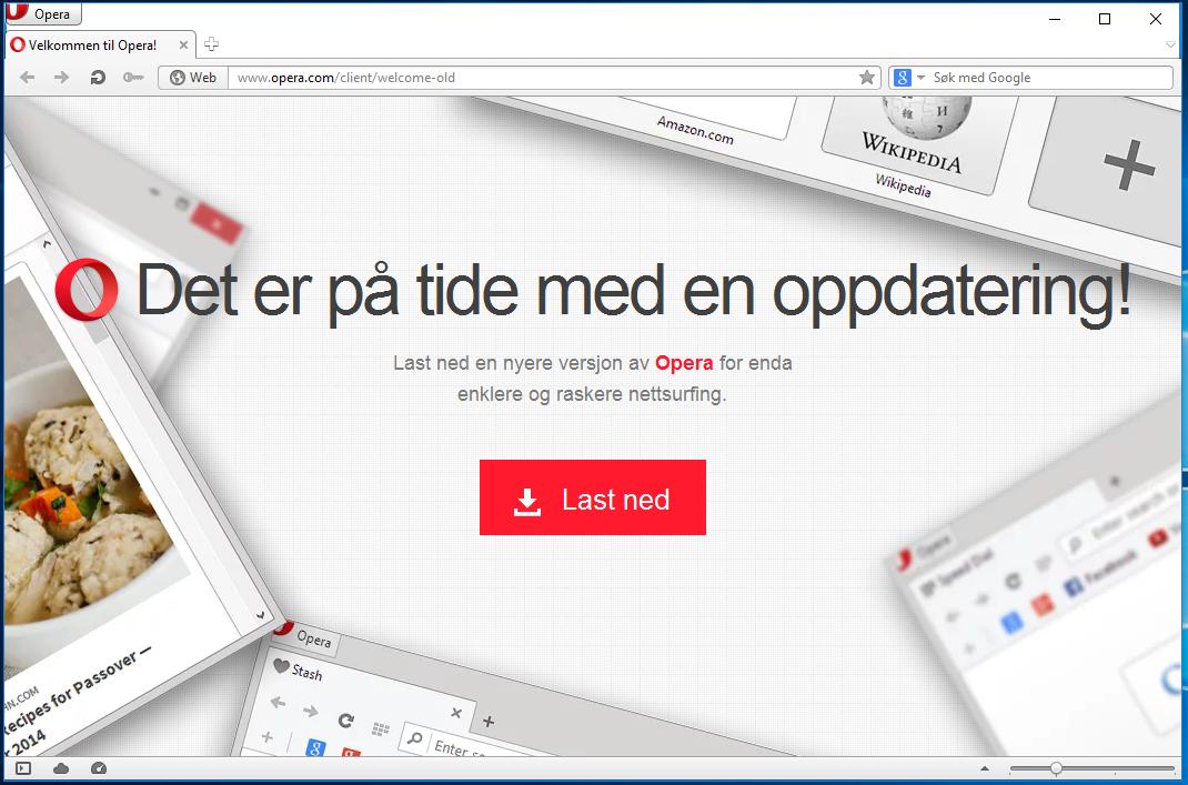 Denne meldingen møter deg når du starter Opera 12.14. Men, hva har du egentlig å vinne på å oppdatere? Vi sjekker på neste side...