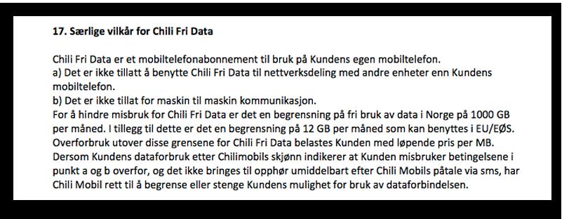 Det er disse punktene i Chilimobils vilkår som Nkom har vært skeptiske til.