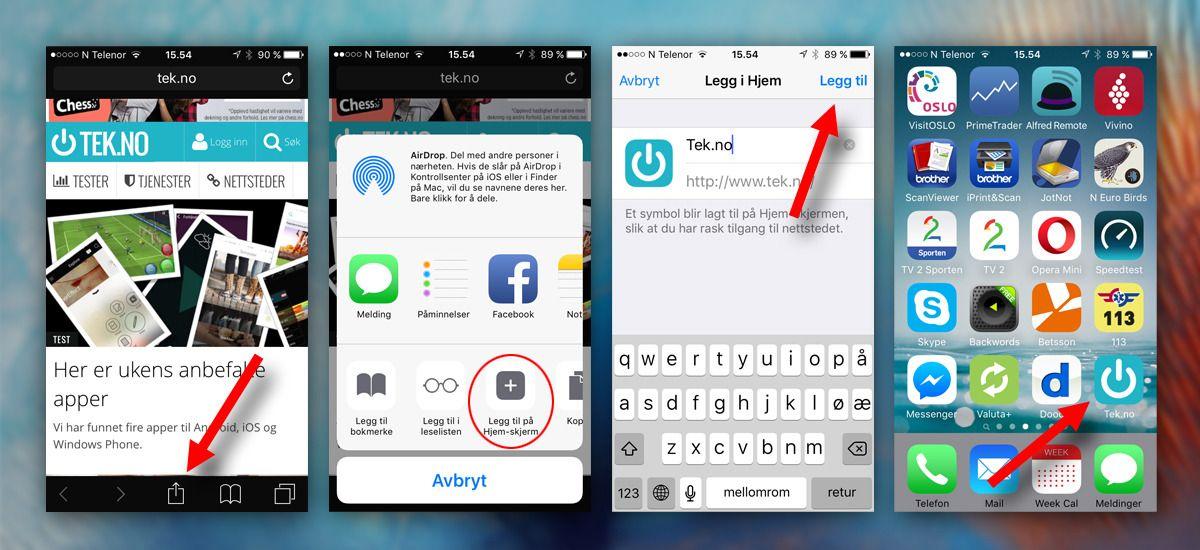 Safari er eneste alternativ for iOS-brukere på snarveisfronten, men heldigvis fungerer det hele bra. At du må bruke «Del»-knappen og deretter sveipe for å finne funksjonen virker imidlertid i overkant komplisert. Foto: Apple/Skjermdump fra mobil/Tek.no, montasje