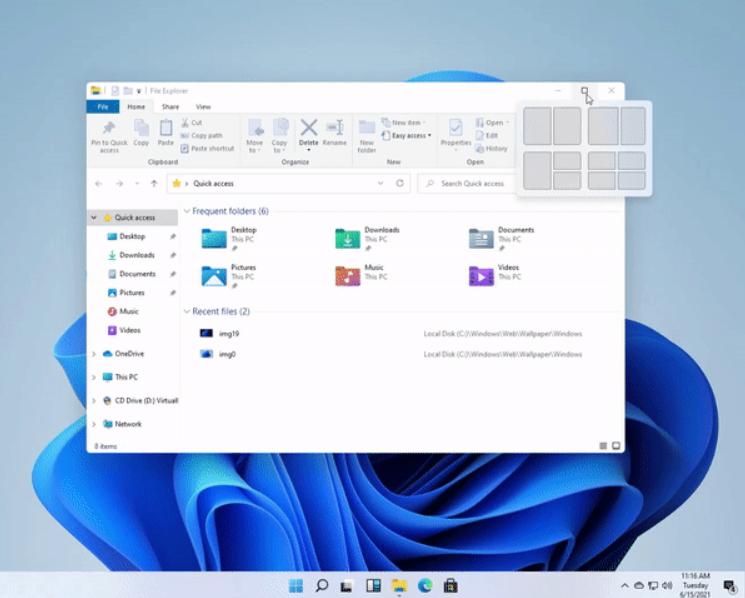 En meny for å enkelt organisere vinduene har kommet til - denne gjør noe av det samme som de eksisterende snap-funksjonene der du trekker en app mot skjermkantene.
