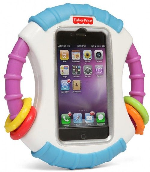 iPhonen ligger trygt inne i Laugh And Learn Apptivity Case.
