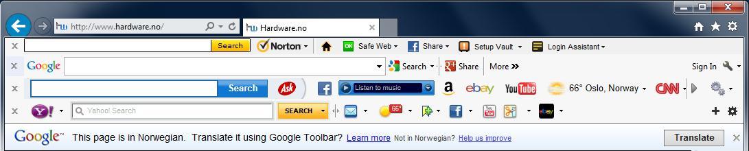 Toolbars hevder selv de er svært så kjekke å ha. En toolbar kunne være nyttig før i tiden, men i dag hvor du kan søke fra adresselinjen er de overflødige.