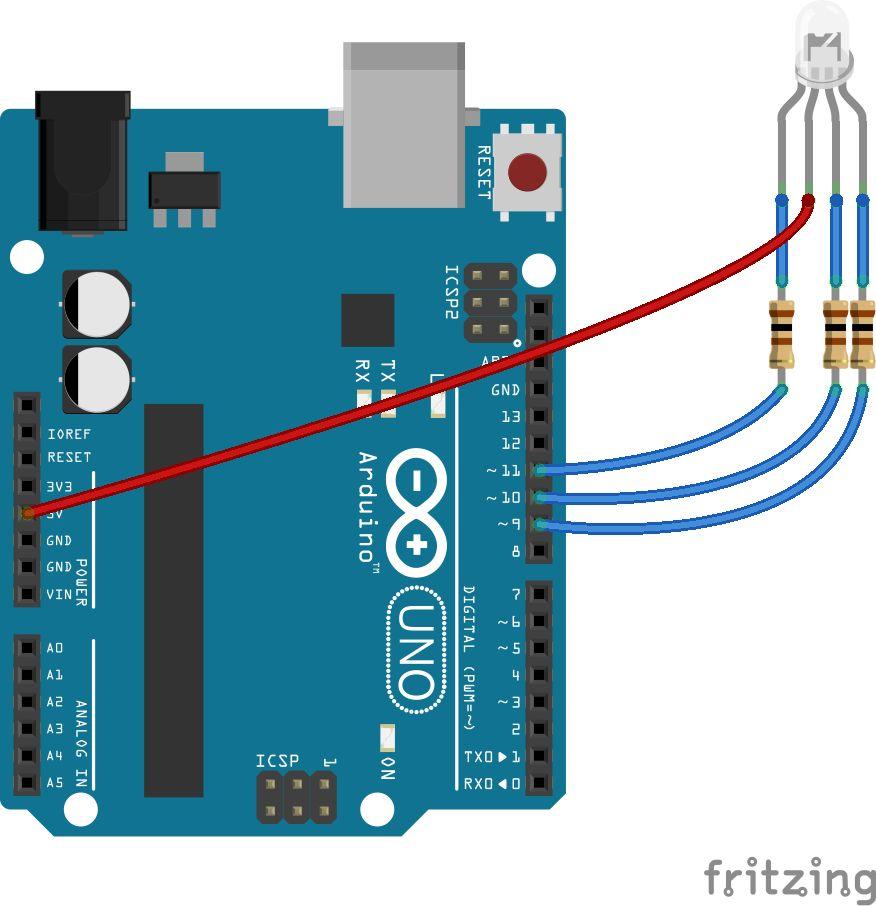 Oppkobling av RGB-lysdiode til Arduino. Foto: Øyvind N. Dahl
