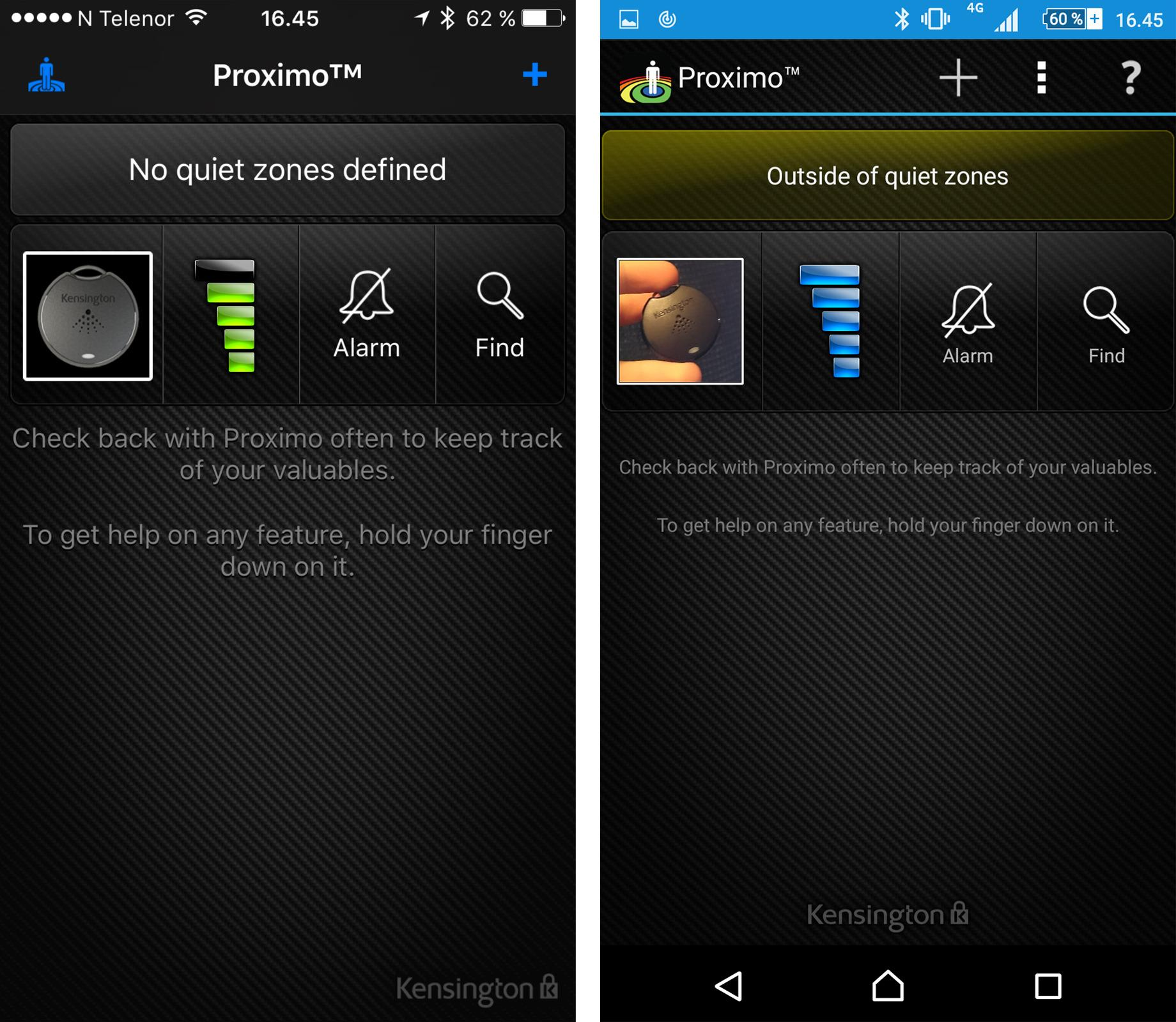 Proximo-forsiden på iOS (venstre) og Android (høyre) er ganske lik – og ser litt gammeldags ut, sett med dagens øyne.