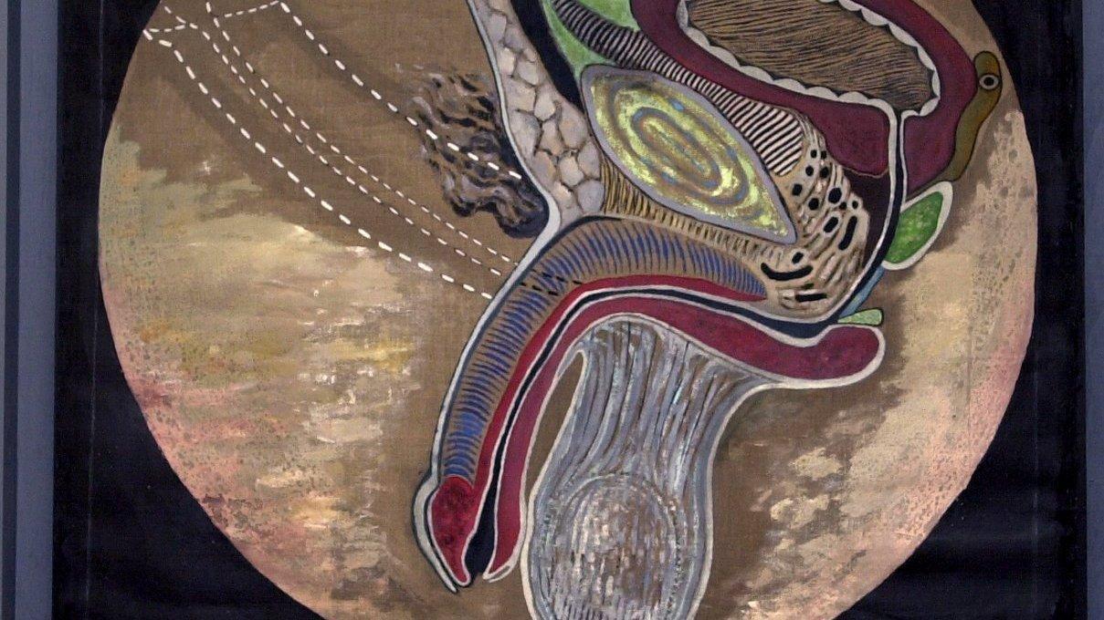Prostata, även kallad blåshalskörteln, är en körtel hos handjur belägen vid urinrörets översta del. Målning av Jan Håfström.