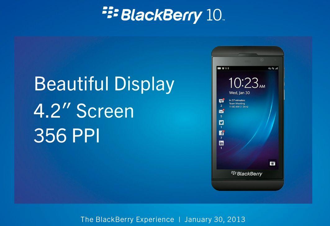 BlackBerry Z10 har svært høy pikseltetthet på den 4,2 tommer store skjermen.