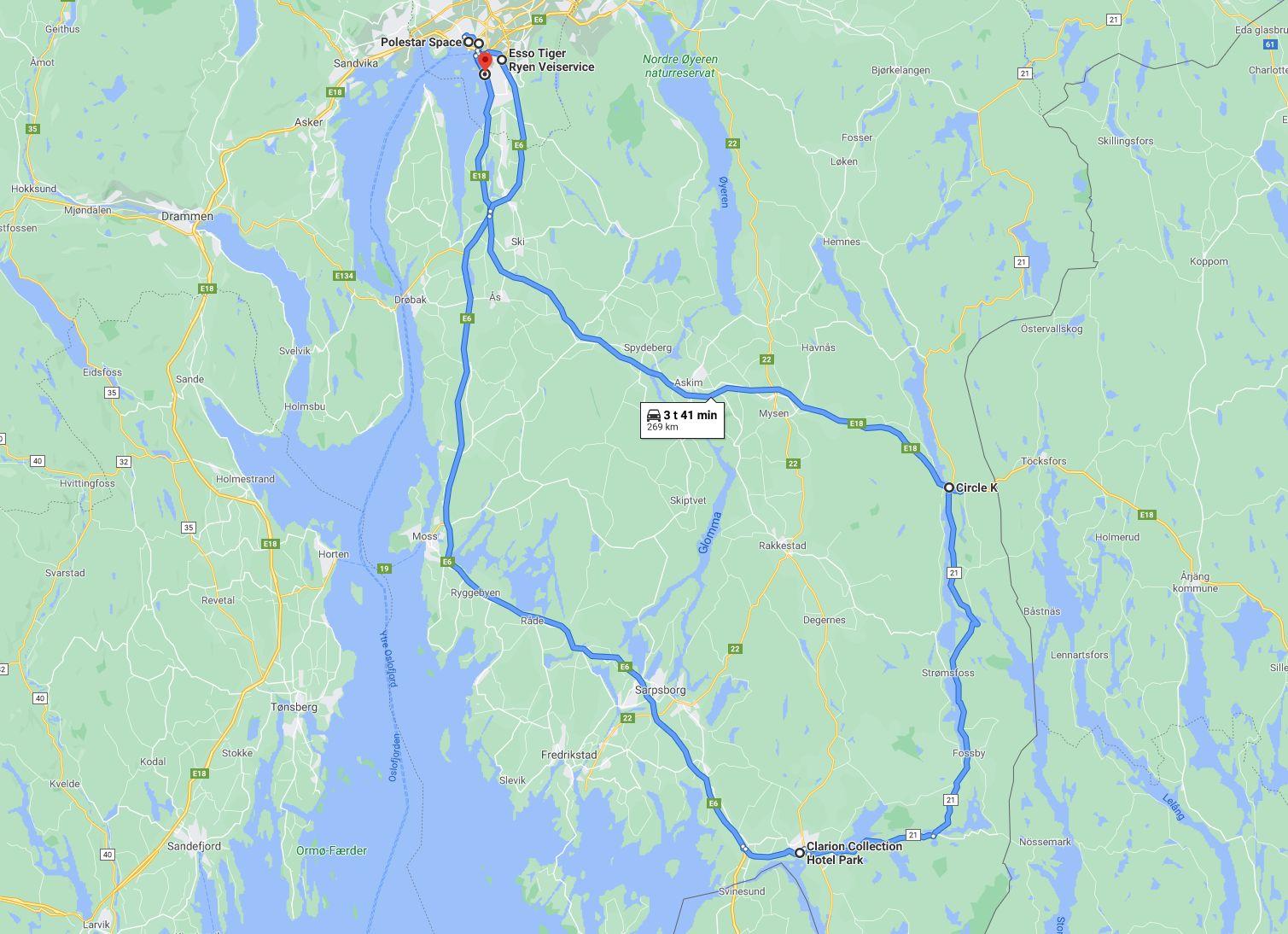 Ruta vi kjørte. Vi startet i Oslo, kjørte til Halden, Ørje og tilbake.