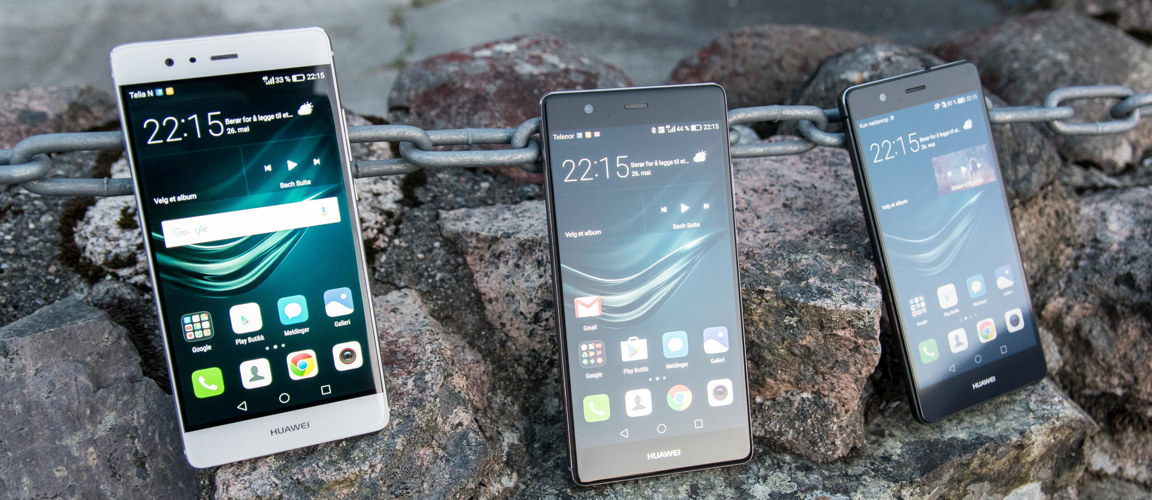 Hele familien Huawei P9 - fra venstre: P9, P9 Plus og P9 Lite. Det er ganske store forskjeller mellom utgavene, tatt i betraktning at de deler modellnavn.
