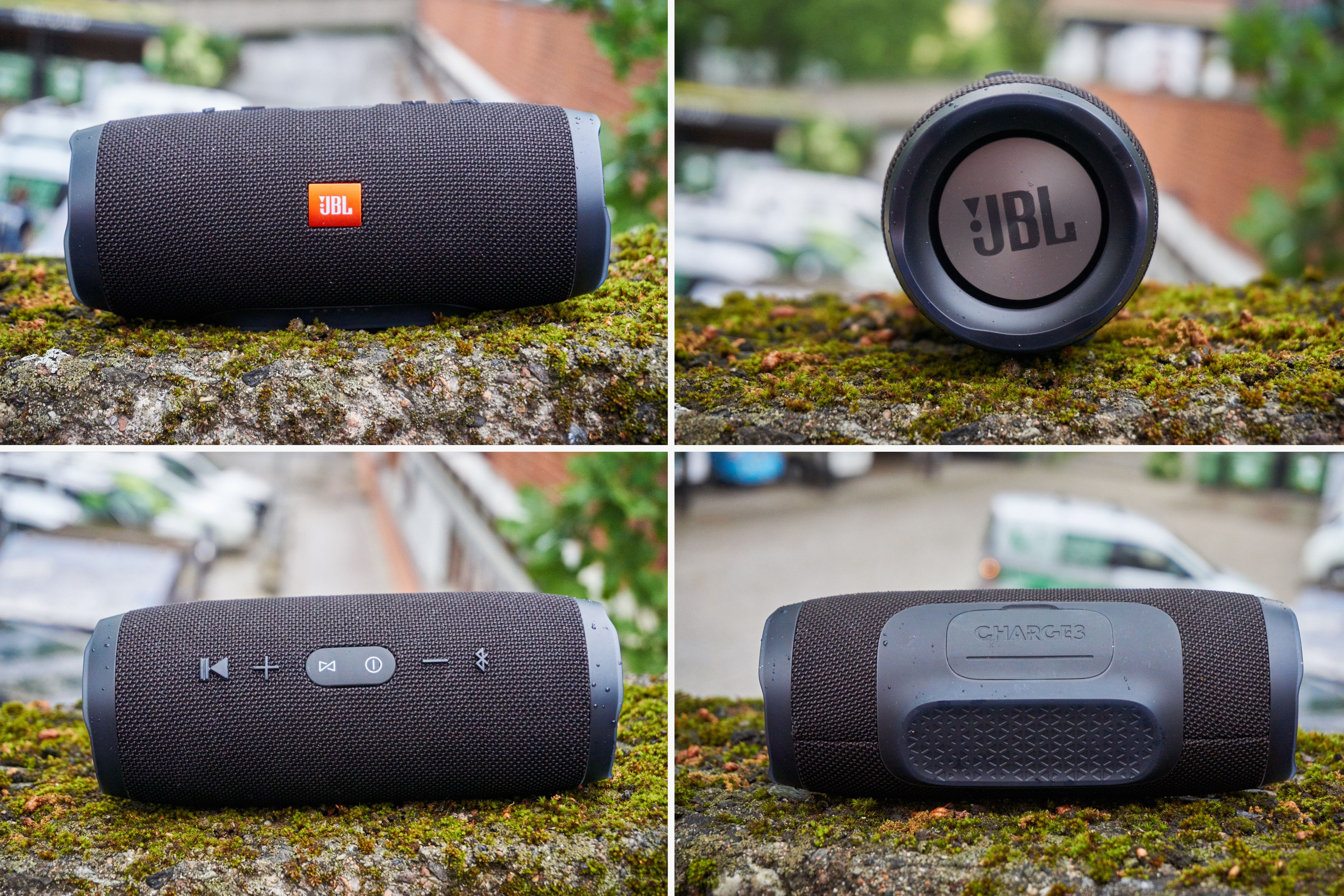 """JBL Charge 3 er kanskje ikke direkte pen, men den ser tøff ut og signaliserer enkelt og greit: """"jeg er en høyttaler""""."""