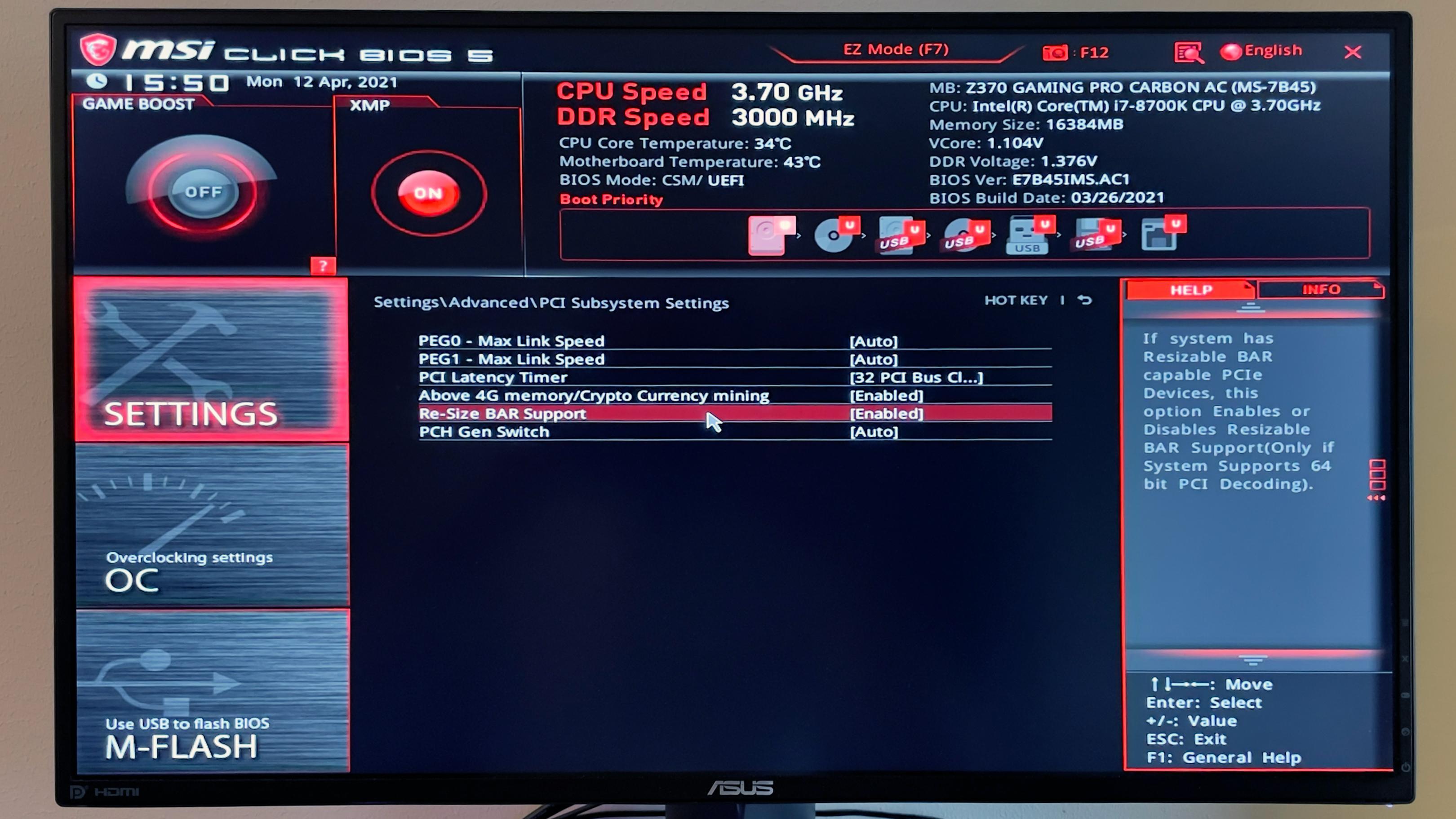Her ser du begge de to innstillingene du må aktivere i BIOS etter at den er oppdatert.