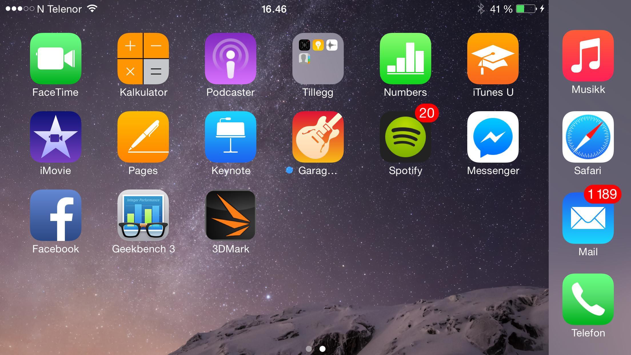 iOS 8 har blitt tilpasset store mobilskjermer, og på iPhone 6 Plus har hele menysystemet en sidelengs modus.Foto: Finn Jarle Kvalheim, Amobil.no