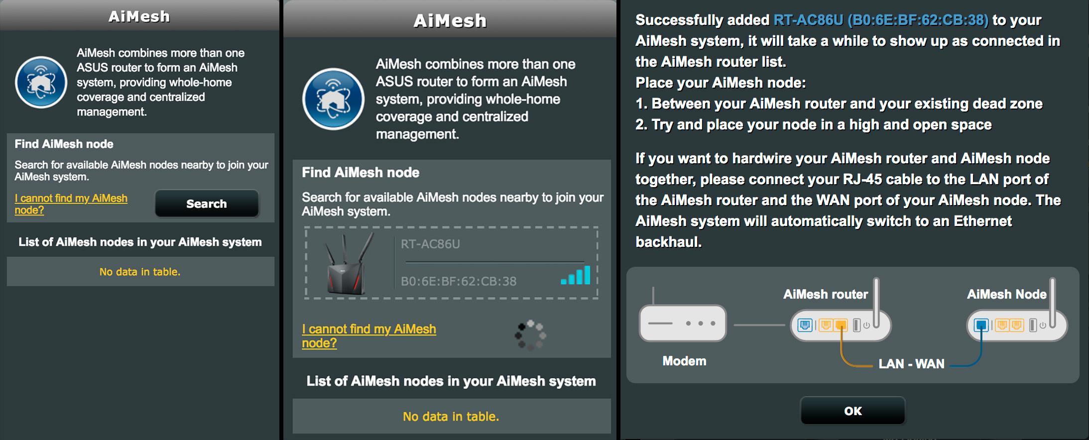 AIMesh-oppsettet er så enkelt som søk, finn og vent.