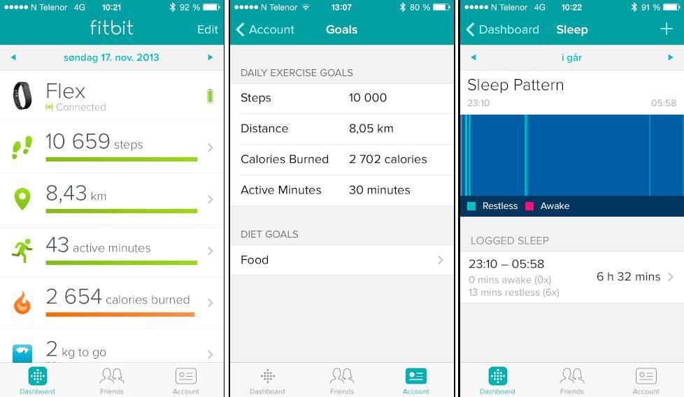 Fitbit Flex logger skritt, tilbakelagt distanse, hvor lenge du har vært aktiv, søvn, kaloriforbruk og kaloriinntak.