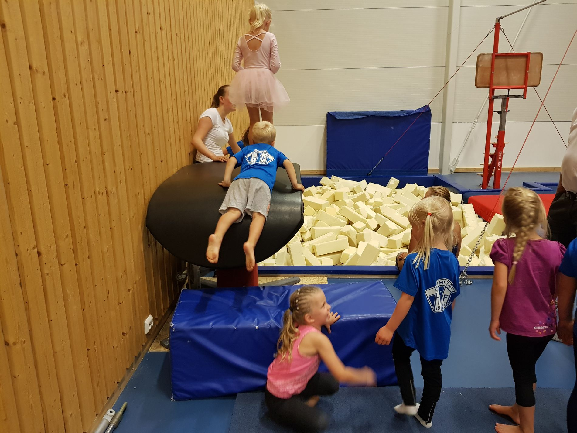 The youngest gymnasts in the club are delighted to have received new equipment.