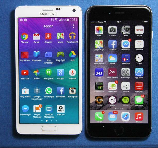 Note 4 (til venstre) er litt mindre enn Apples iPhone 6 Plus (til høyre). Den har likevel litt større skjerm enn iPhone-en.Foto: Espen Irwing Swang, Amobil.no