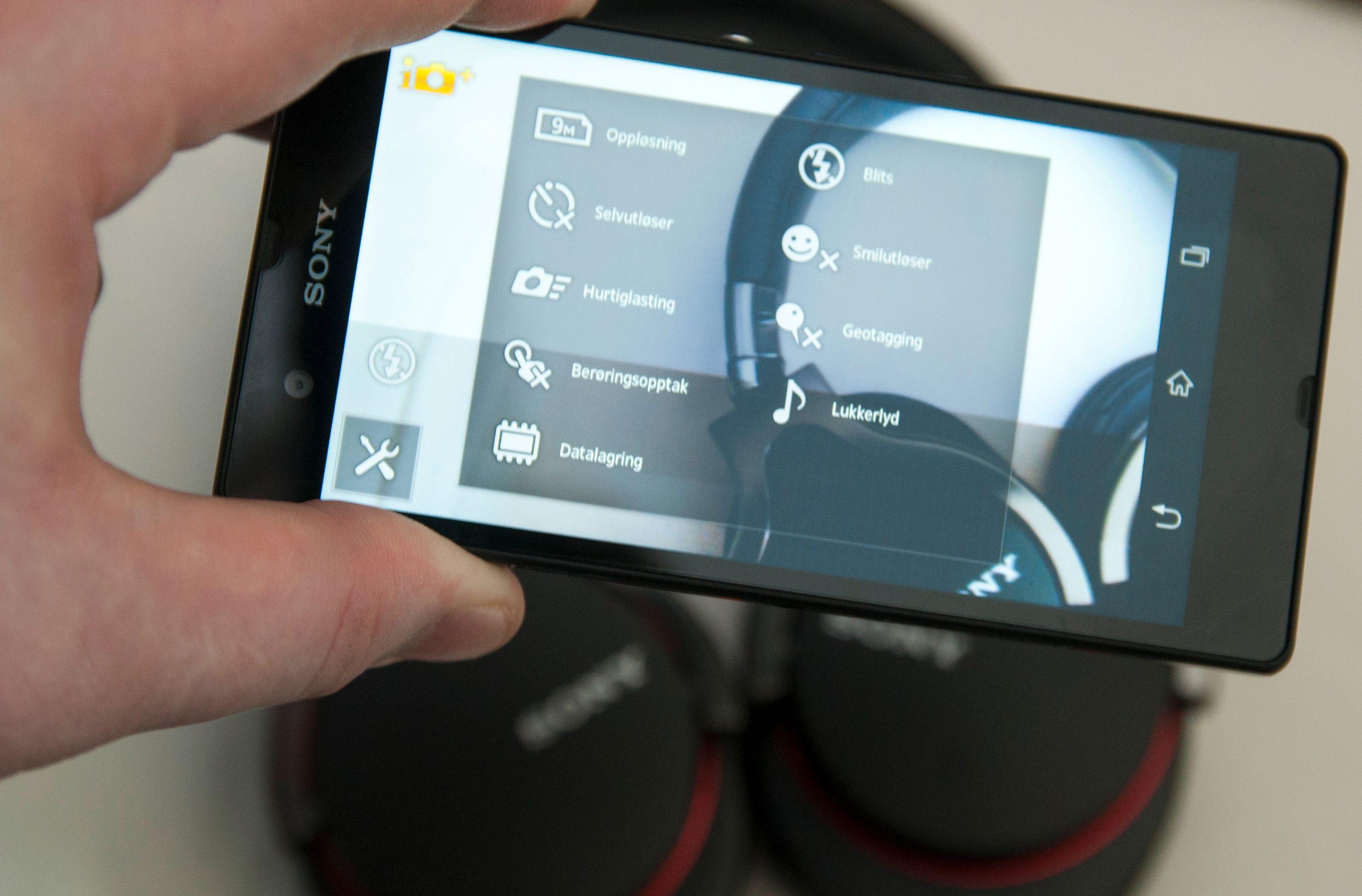 Du har mange ulike innstillinger å velge i når du skal fotografere med telefonen. Xperia Z har også en automodus som Sony lover skal være god til det meste.Foto: Finn Jarle Kvalheim, Amobil.no