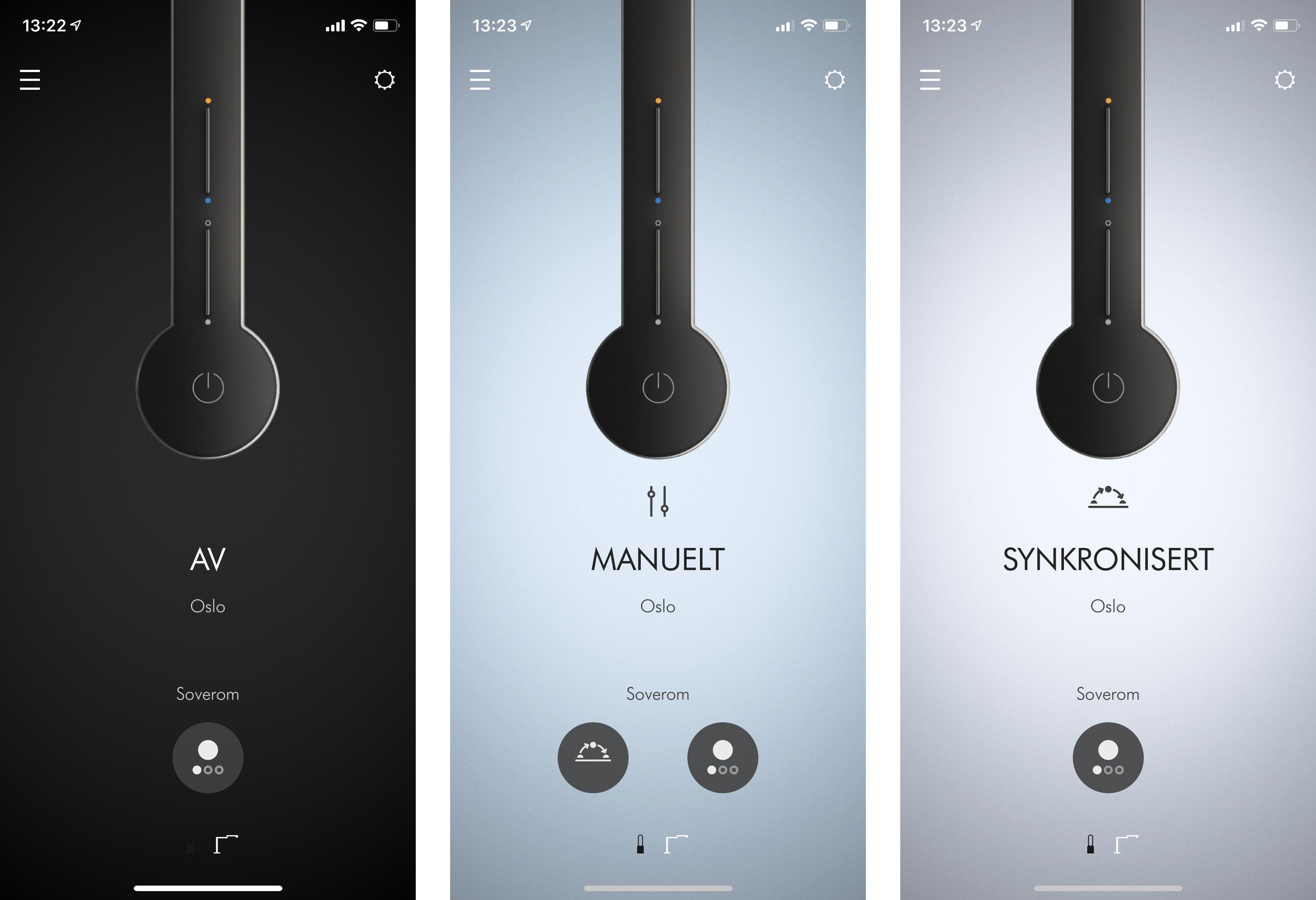 I appen kan du naturligvis skru av og på lampen, men også justere haugevis av forskjellige funksjoner.