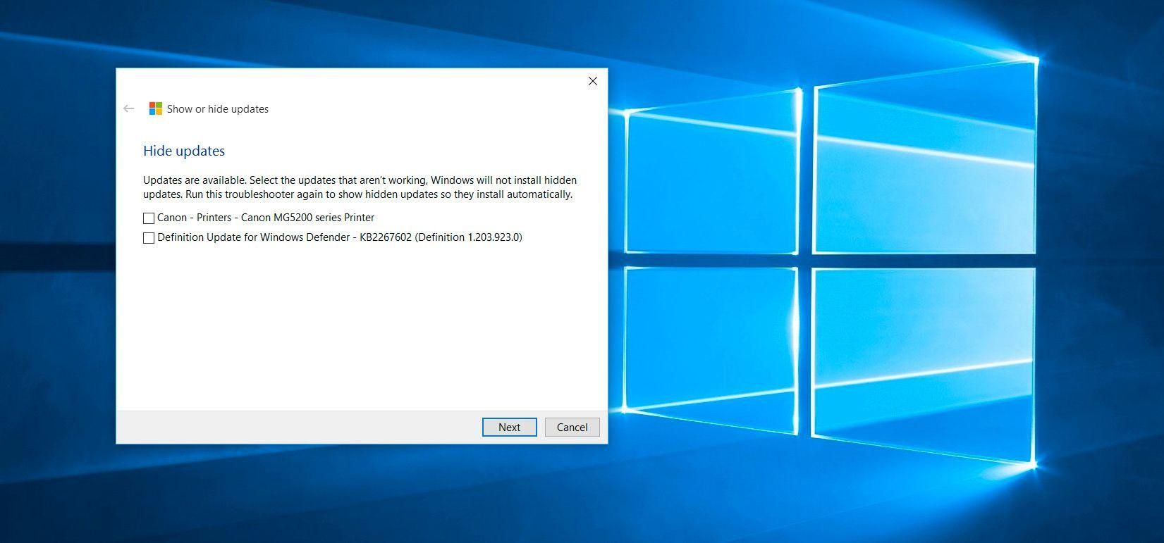 Velger du å skjule oppdateringer (Hide updates) kan du velge blant oppdateringene som er tilgjengelig for PC-en din. Vær obs på at allerede installerte oppdateringer først må fjernes igjen før de dukker opp her. Foto: Finn Jarle Kvalheim, Tek.no