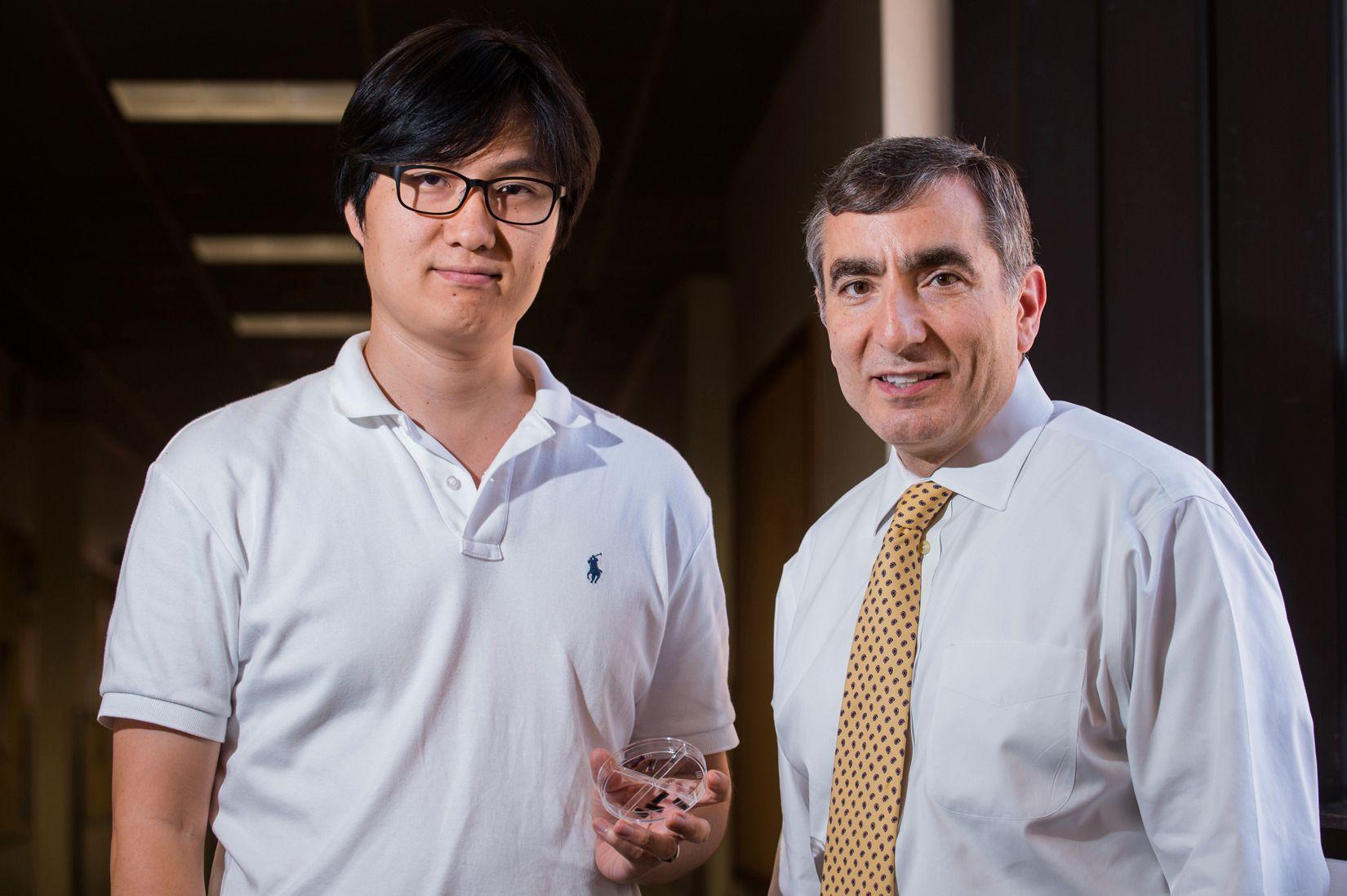 To av forskerne bak den nye lagringsteknologien, Gunuk Wang (til venstre) og James Tour.Foto: Jeff Fitlow/Rice University