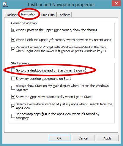 Ved hjelp av innstillingene under de fire fanene kan du tilpasse Windows 8.1 mye mer til din smak, blant annet ved å starte opp rett på skrivebordet.