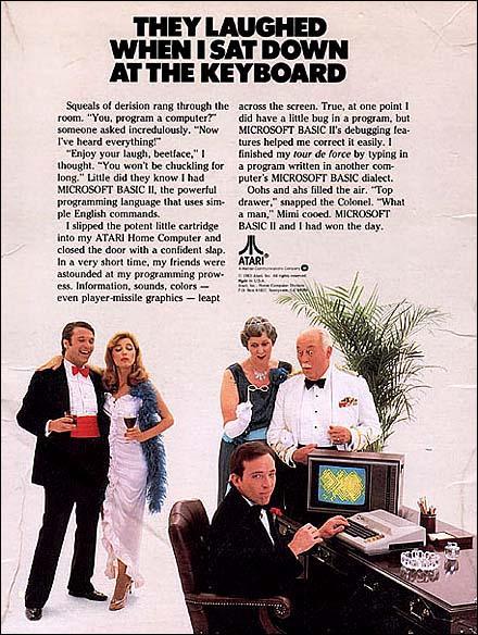 Denne Atari 800-reklamen er god lesing. Klikk for større bilde.