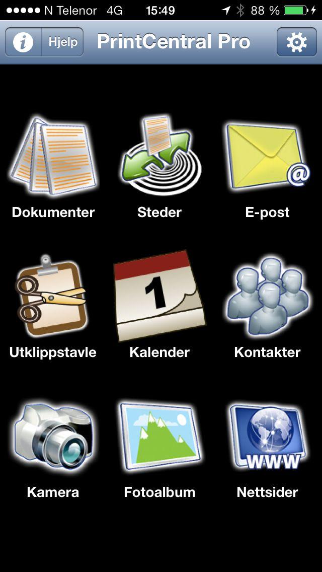 PrintCentral Pro på iPhone.