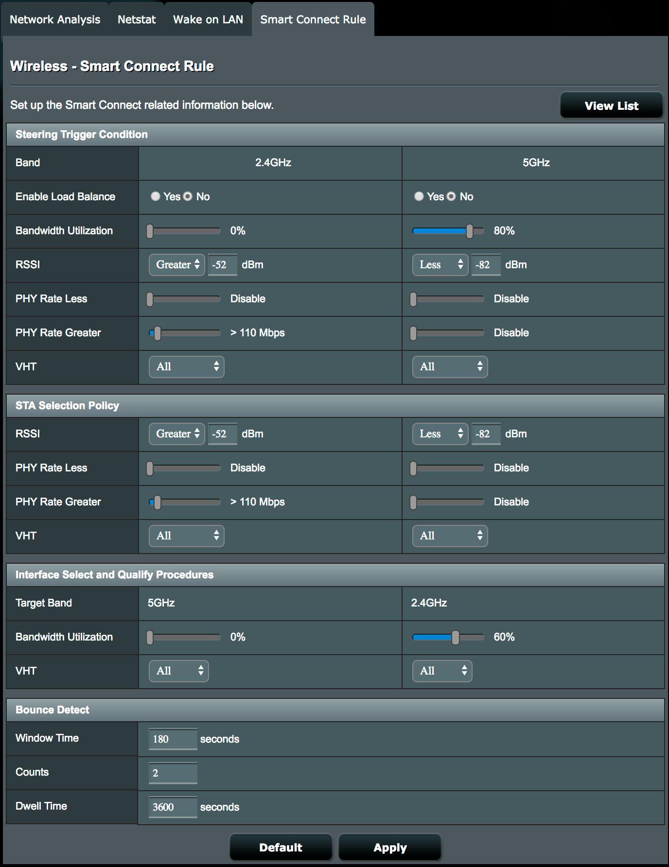 Mulighetene i Asus' konfigurasjonsløsning er mange. Du kan for eksempel sette kriterier for når ruterne skal dytte klientene over fra 2,4 Ghz til 5 Ghz og omvendt.