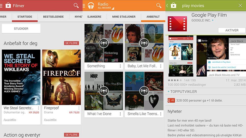 Hør musikk eller se film på TV-en rett fra Google Play-appen.