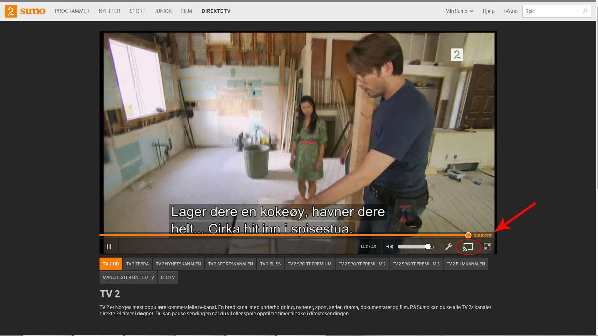 Sumo kan brukes med Chromecast. Klikk på ikonet så sendes innholdet over til TV-en din.Foto: Ole Henrik Johansen / Hardware.no