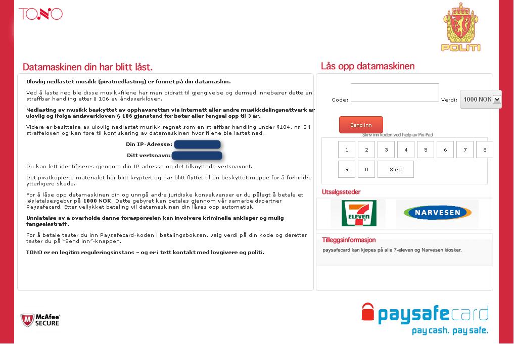Meldingen fra «TONO».Foto: Botnets.fr