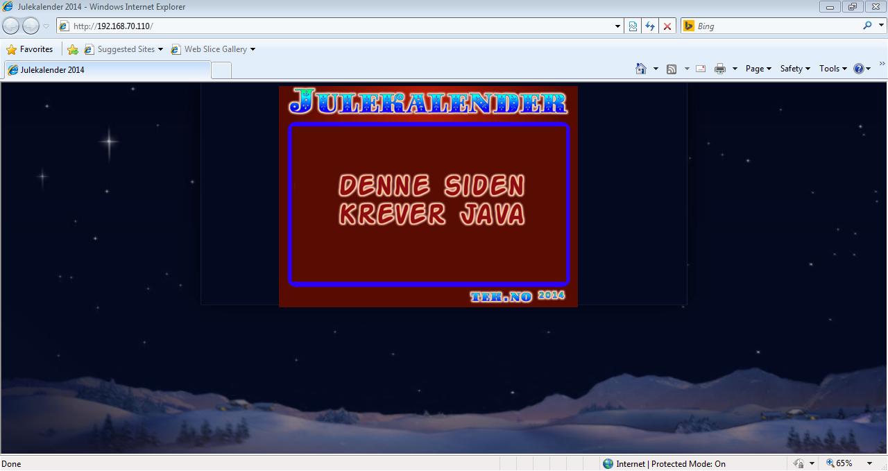 En adventskalender som krever Java er kanskje ikke så vanlig, men ikke helt utenkelig heller.Foto: Laget for Tek.no av NSM