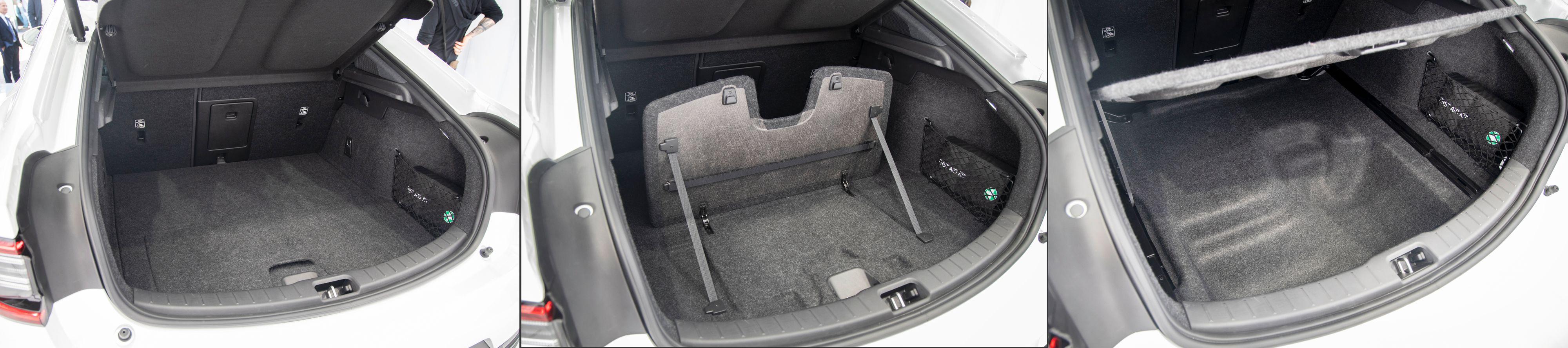 Bagasjerommet rommer 404 liter, og kan deles i to med en flapp i midten. Under finnes også et litt irregulært rom, og i tillegg er det en liten «frunk» foran på 34 liter.