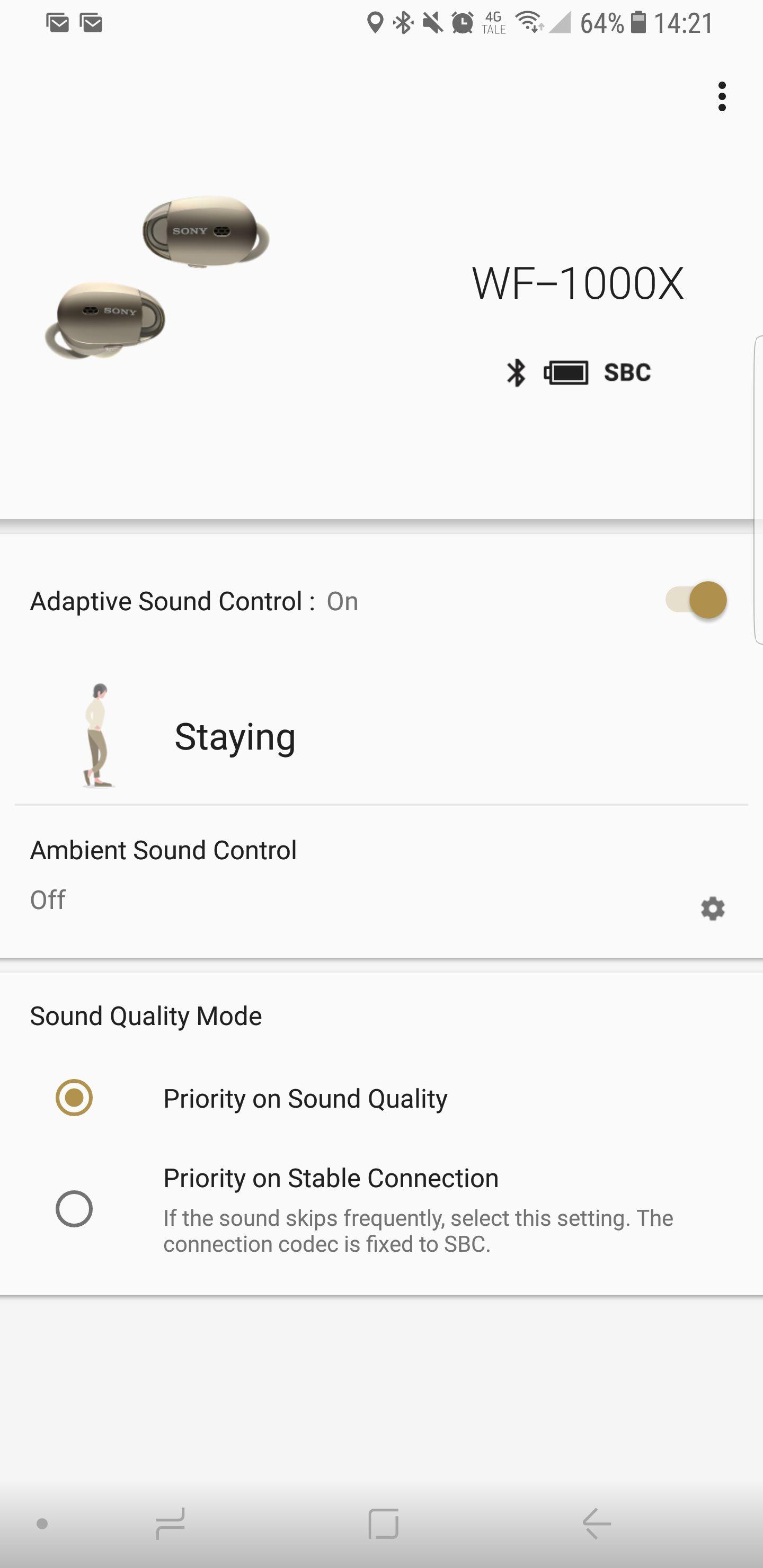 Sonys app er enkel å bruke. Et pluss er t du kan definere hvor mye støykansellering du ønsker.