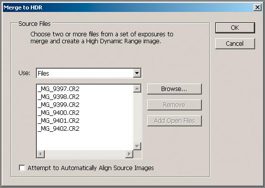 Merge to HDR-kommandoen bringer opp en dialog som lar brukeren bla seg fram til og velge filene i den aktuelle bildeserien.