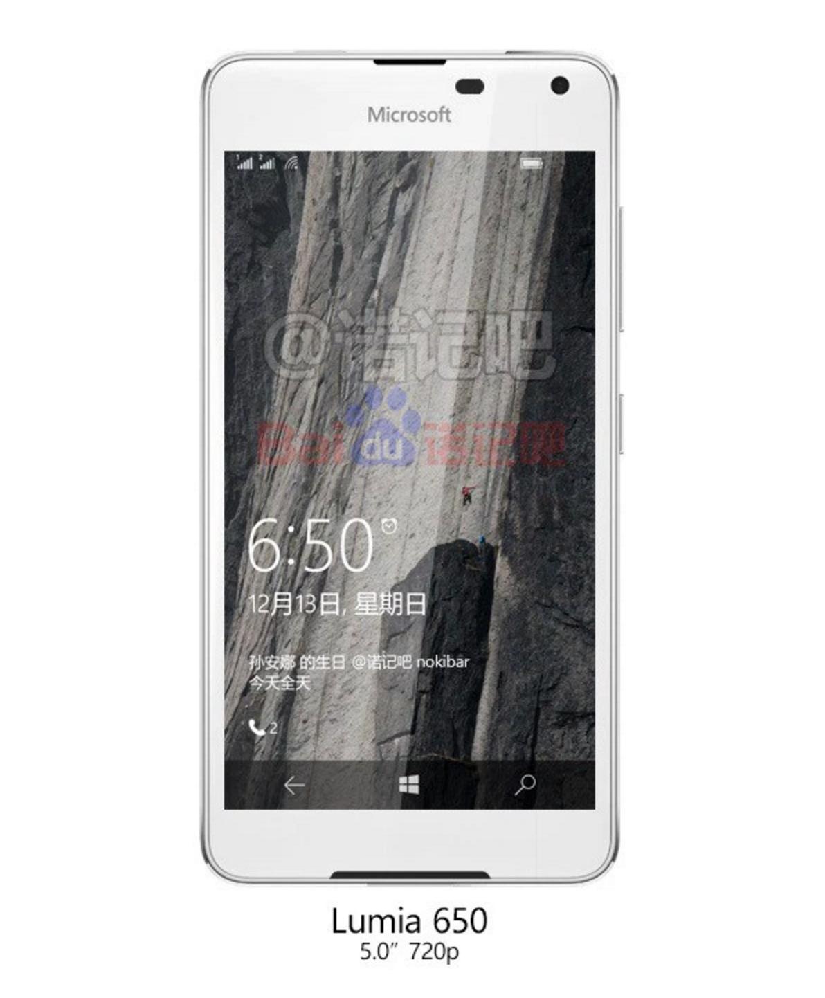 Slik ser det opprinnelige, lekkede bildet av det som hevdes å være Lumia 650 ut.