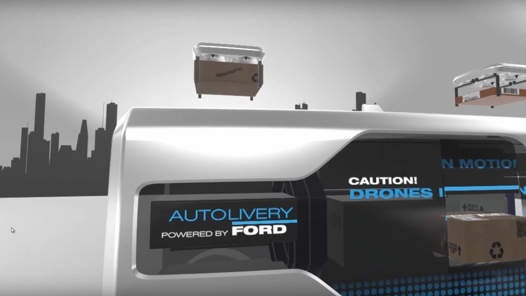 Ford vil levere matvarene dine med droner fra selvkjørende biler