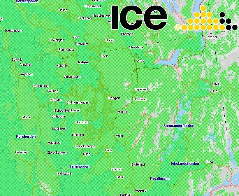 Ice lover god dekning i Bergen. Klikk for større kart.