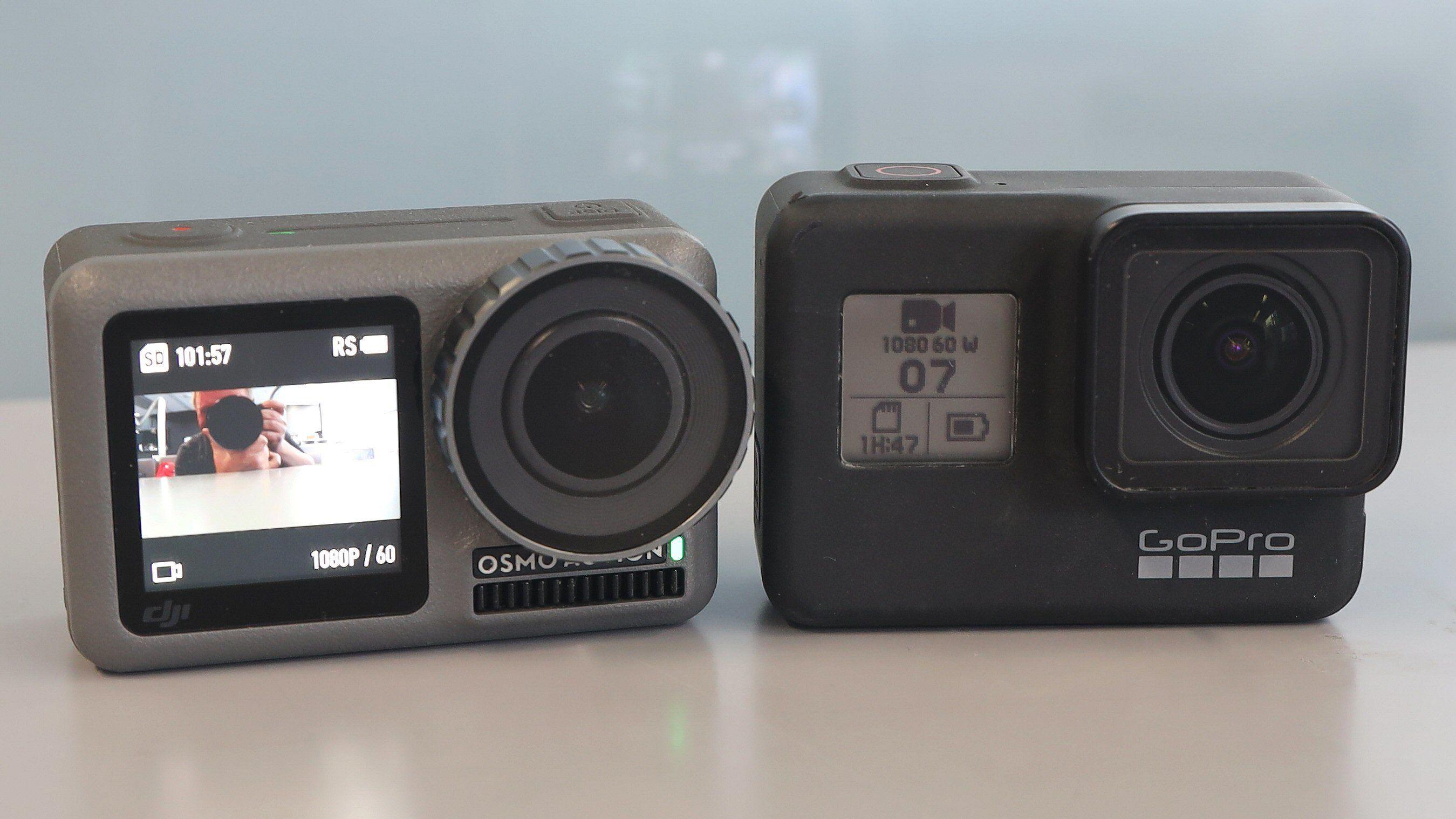 Osmo Acion har en skikkelig frontskjerm, mens Hero7 kun er utstyrt med et LCD-display som viser innstillingene i front.