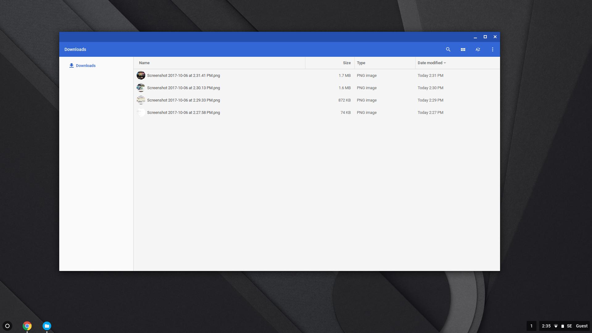 Nedlastede filer blir liggende i midlertidige mapper. Ellers navigerer du i og åpner alle filer i Google Drive.