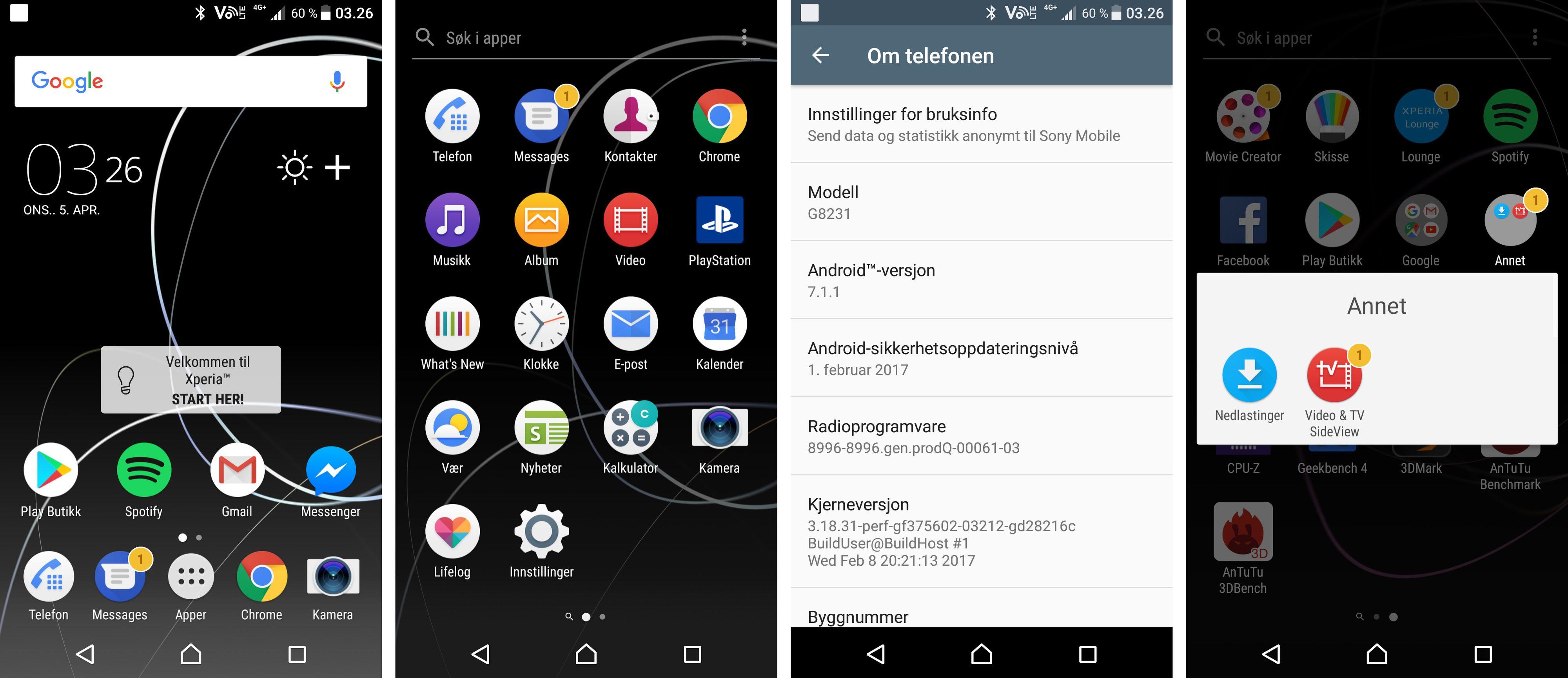Selve menyopplevelsen er ikke så mange hakk unna ren Android, og den virker lettdrevet og rask. Men det blir tidvis litt mye mas fra medfølgende apper her. Hvorfor så mange av de Sony-spesifikke appene har ting å fortelle meg aner jeg ikke.