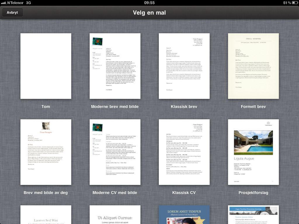Du finner mange maler i iWorks tekstbehandler.