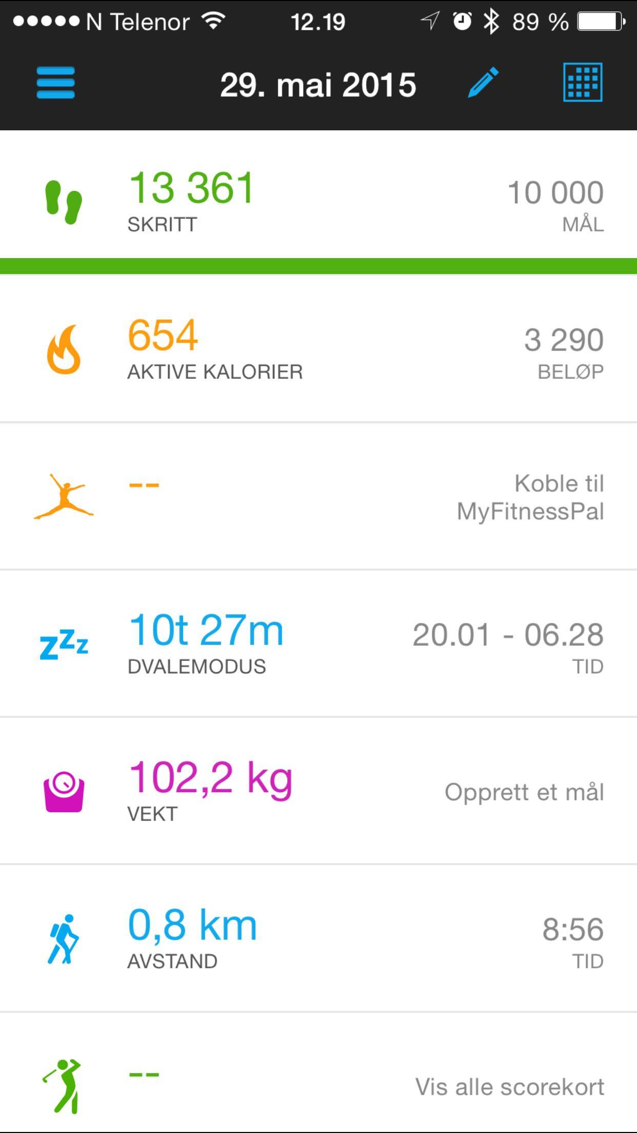 Garmins app er oversiktlig. Foto: Ole Henrik Johansen / Tek.no