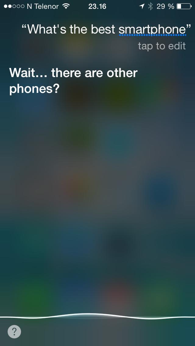 Siri er lykkelig uvitende om Android og Windows Phone. Foto: Skjermdump