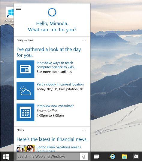 Cortana flytter inn i Windows 10-oppgavelinjen,.