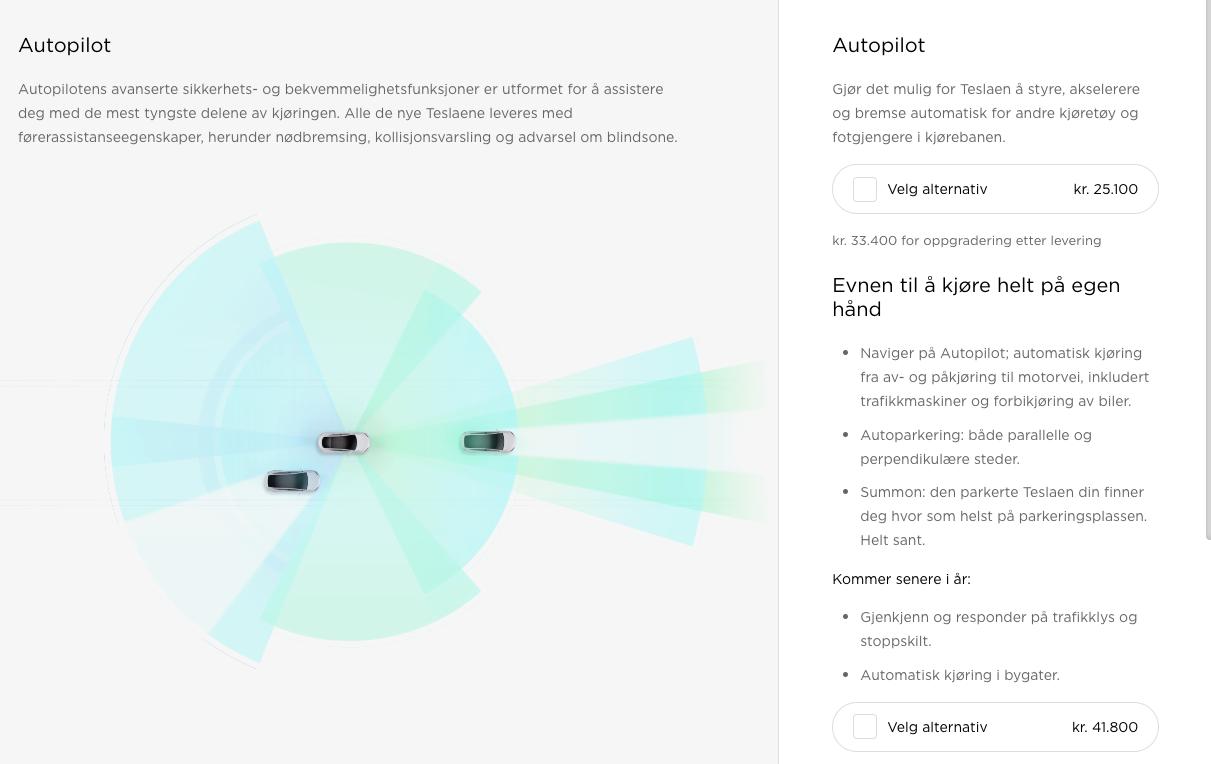 Slik markedsfører Tesla sine Autopilot- og Summon-funksjoner på nettsidene i dag.