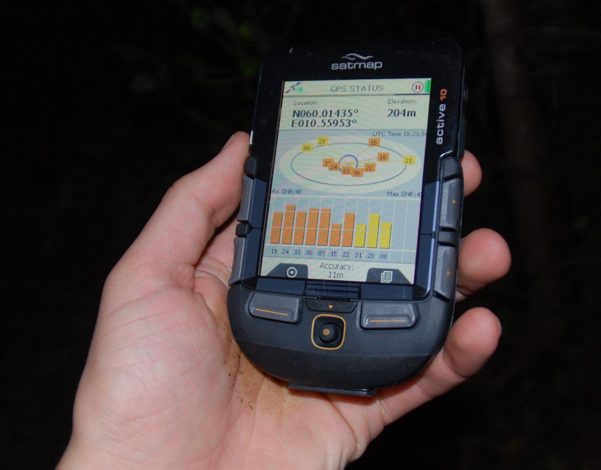 Satmap Active 10 har godkjent GPS-mottak.