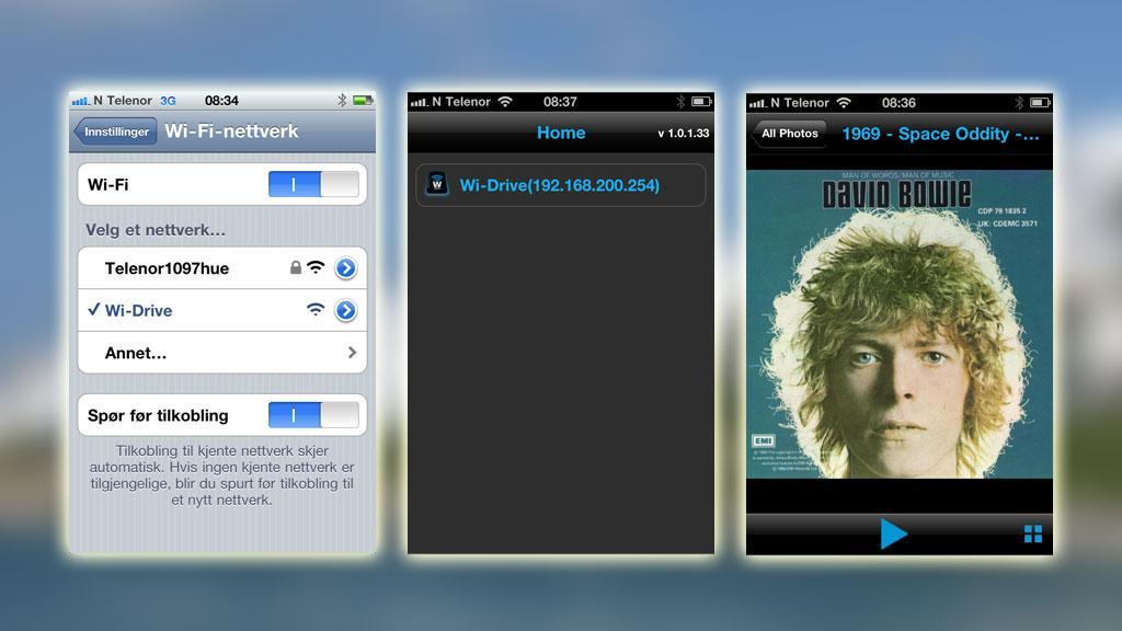 Koble deg til Wi-Drive-nettverket, start Wi-Drive-appen, velg Wi-Drive og kjør innholdet.
